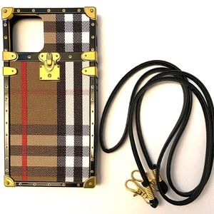 Brown Stripe Phone Case iPhone 11 Case with Strap